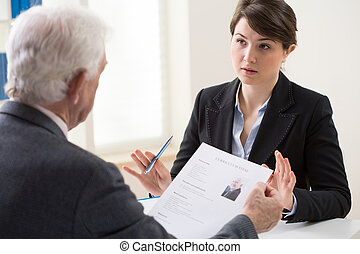 Recruitment meeting - Elderly elegant man on his recruitment...
