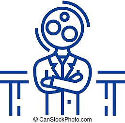 Recruitment officer,analytics manager line icon concept....