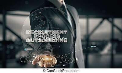 Recruitment Process Outsourcing with hologram businessman...