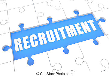 Recruitment - puzzle 3d render illustration with word on blue background