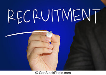 Recruitment - Business concept image of a hand holding...