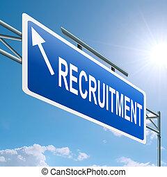 recrutamento, concept.