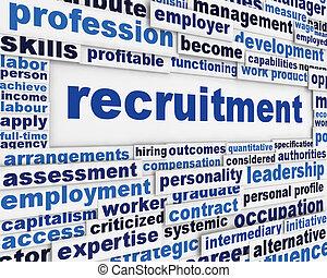 recrutamento, mensagem, desenho, cartaz