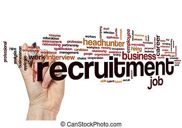 recrutamento, palavra, nuvem