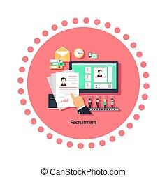 recrutement, concept, conception, icône, plat