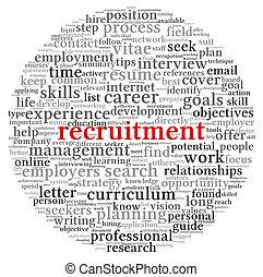 recrutement, concept, mot, nuage, étiquette