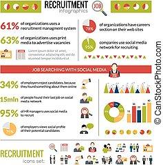 recrutement, ensemble, infographics