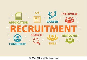 recrutement, icônes concept