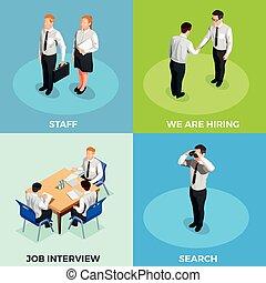 recrutement, isométrique, ensemble, gens