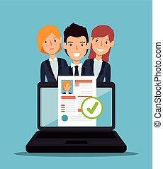 recrutement, ordinateur portable, programme scolaire, conception
