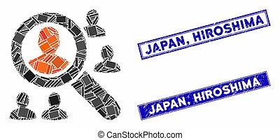 rectángulo, sellos, explorar, rasguñado, hiroshima, japón,...