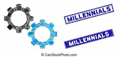 rectángulo, sellos, mecánico, millennials, engranajes,...
