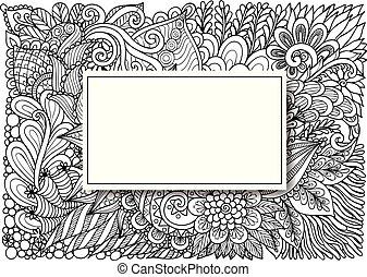 rectángulo, vacío, flores