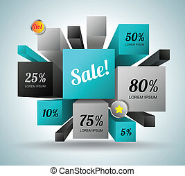Rectangle 3d with icons - Vector business concepts with ...