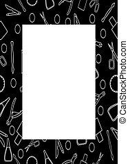 rectangle, accessoires, modèle, noir, cadre, manucure