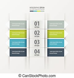 Rectangle and Arrow banner Green, blue, gray color