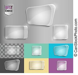 Rectangle and square set of glass shape icons with soft shadow on gradient background . Vector illustration EPS 10 for web.