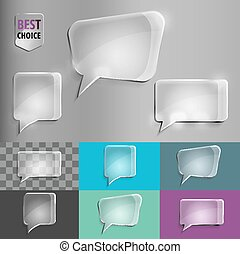 Rectangle and square set of glass shape speech icons with soft shadow on gradient background . Vector illustration EPS 10 for web.