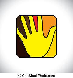 rectangle-, arredondado, graphic., icon(symbol), vetorial, hand(palm), pessoa