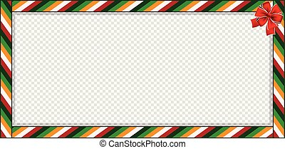 Rectangle banner with colored striped pattern and red festive ribbon isolated