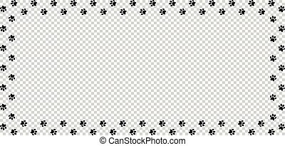 Rectangle border made of black animal paw prints isolated