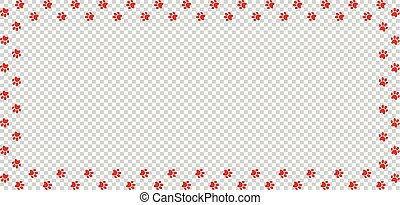 Rectangle border made of red animal paw prints isolated