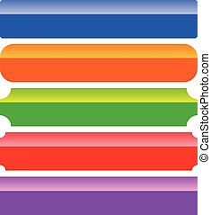 Rectangle button, banner background templates in 5 color
