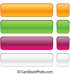Set of rectangle buttons in different colors.