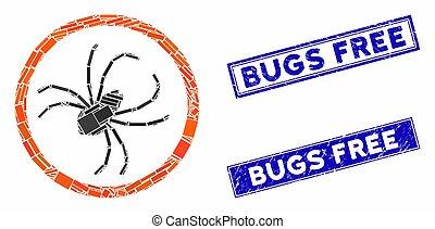 rectangle, cachets, mosaïque, araignés, timbre, détresse