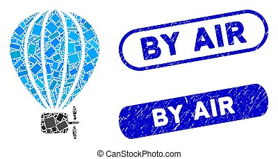 Rectangle Collage Air Balloon with Textured By Air Stamps