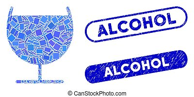 Rectangle Collage Alcohol Glass with Grunge Alcohol Stamps