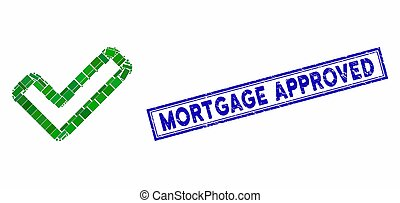 Rectangle Collage Apply Tick with Grunge Mortgage Approved Seal
