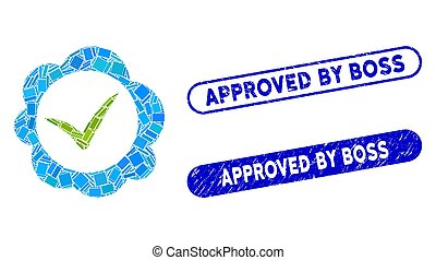 Rectangle Collage Approved Stamp with Textured Approved by Boss Seals