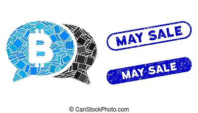 Rectangle Collage Bitcoin Chat with Grunge May Sale Stamps