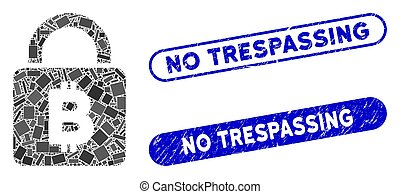 Rectangle Collage Bitcoin Lock with Scratched No Trespassing Stamps