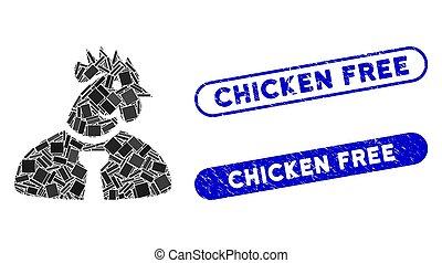 Rectangle Collage Chicken Man with Textured Chicken Free Seals