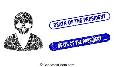 Rectangle Collage Death Man with Distress Death of the President Stamps