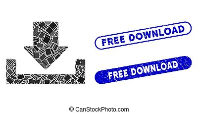 Rectangle Collage Download with Grunge Free Download Stamps