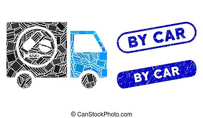 Rectangle Collage Drugstore Truck with Grunge By Car Stamps