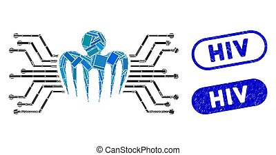 Collage electronic circuit spectre and grunge stamp seals with HIV text. Mosaic vector electronic circuit spectre is formed with randomized rectangles. HIV stamp seals use blue color,