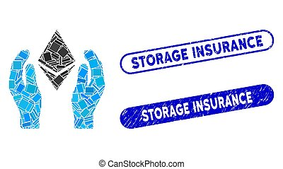 Rectangle Collage Ethereum Care Hands with Textured Storage Insurance Seals