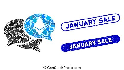 Rectangle Collage Ethereum Webinar Messages with Scratched January Sale Stamps