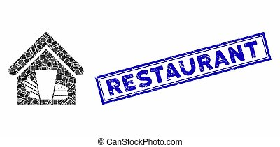 Rectangle Collage Fastfood Cafe with Grunge Restaurant Stamp