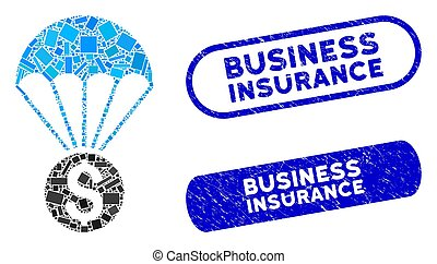 Rectangle Collage Financial Parachute with Textured Business Insurance Stamps