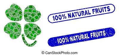 Rectangle Collage Four-Leafed Clover with Textured 100% Natural Fruits Stamps