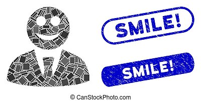 Rectangle Collage Glad Boss with Textured Smile! Stamps