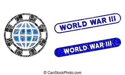 Rectangle Collage Globe Casino Chip with Distress World War Iii Seals