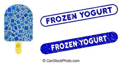 Rectangle Collage Ice Cream with Grunge Frozen Yogurt Seals