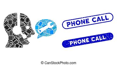 Rectangle Collage Operator Service Message with Textured Phone Call Stamps