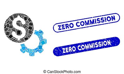 Rectangle Collage Payment Tools with Textured Zero Commission Stamps